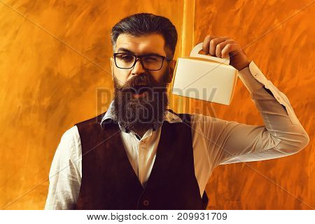 Bearded Man, Brutal Caucasian Hipster With Moustache Holding Lunch Box