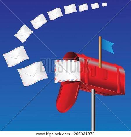 colorful illustration with red mail box on blue background