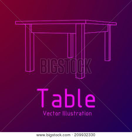 Table furniture wireframe blueprint. Linear outline pedestal vector illustration.