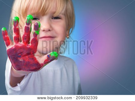 Girl hand paint elementary age child care human emotions cute girl