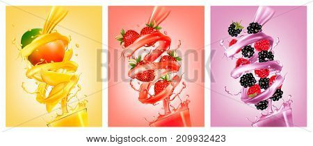 Set of labels of of fruit in juice splashes. Mango strawberry raspberry blackberry. Vector.