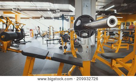 Interior Of Modern Fitness Gym - yellow color, background, de-focused