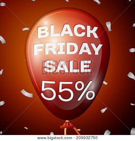 Realistic Shiny Red Balloon with text Black Friday Sale Fifty five percent for discount over red background. Black Friday balloon concept for your business template. Vector illustration