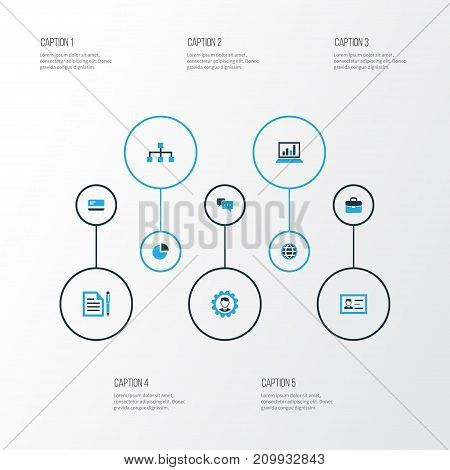 Business Colorful Icons Set. Collection Of Globe, Portfolio, Analytics And Other Elements