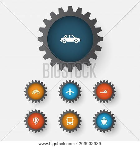 Transportation Icons Set. Collection Of Automobile, Chopper, Airship And Other Elements