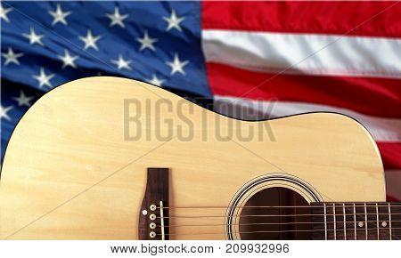Guitar acoustic closeup art detail brown instrument