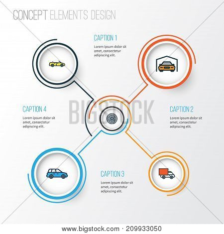 Automobile Colorful Outline Icons Set. Collection Of Sedan, Van, Drive And Other Elements