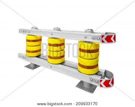 Automotive road barrier for dividing line on white background