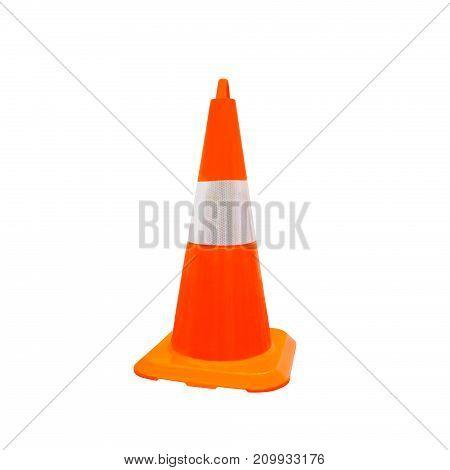 Traffic orange color cones isolated on white
