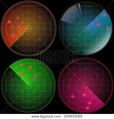 Radars set with targets in process. Navigation HUD interface. Military radar screen. Vector illustration