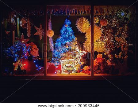 Christmas shop with festive decorations and lights