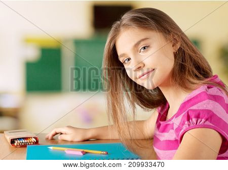 Girl little student class beautiful person young