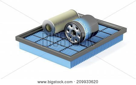 3D illustration of air, oil and petrol filters