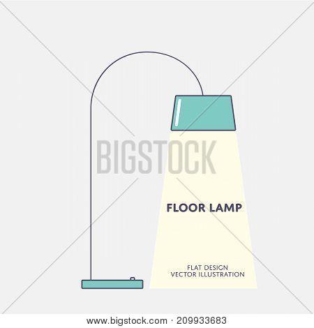 Modern floor lamp. Flat design Vector illustration