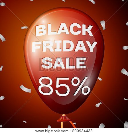 Realistic Shiny Red Balloon with text Black Friday Sale Eighty five percent for discount over red background. Black Friday balloon concept for your business template. Vector illustration