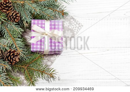 Christmas background with gifts and Christmas tree. Concept Happy Christmas New Year holiday winter.