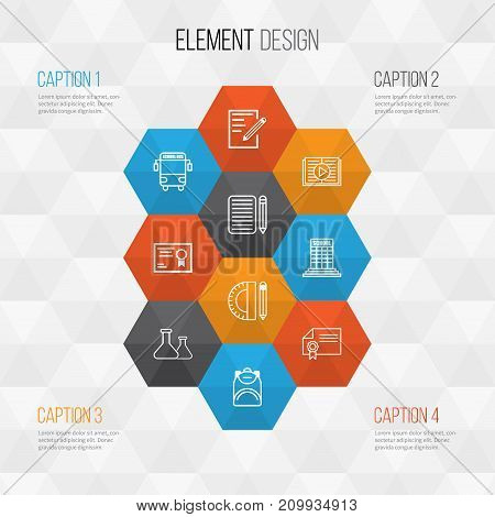 School Icons Set. Collection Of Paper, Education Tools, Academy And Other Elements