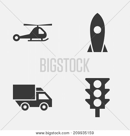 Shipment Icons Set. Collection Of Spaceship, Stoplight, Chopper And Other Elements