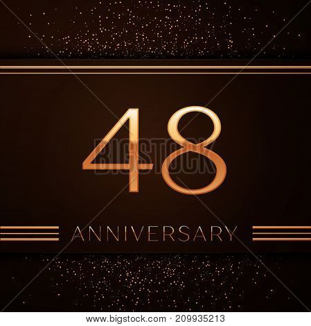 Realistic Forty eight Years Anniversary Celebration Logotype. Golden numbers and golden confetti on brown background. Colorful Vector template elements for your birthday party