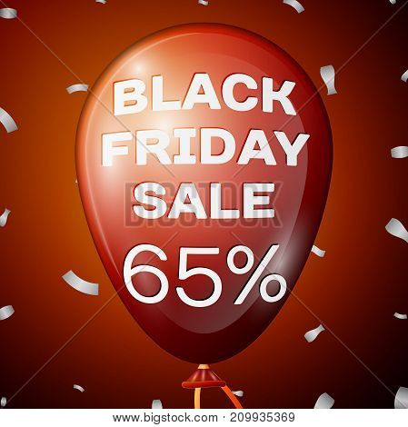 Realistic Shiny Red Balloon with text Black Friday Sale Sixty five percent for discount over red background. Black Friday balloon concept for your business template. Vector illustration