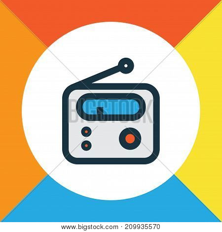 Premium Quality Isolated Tuner Element In Trendy Style.  Radio Colorful Outline Symbol.