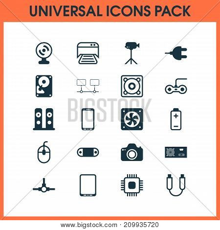 Computer Icons Set. Collection Of Control Device, Smartphone, Camera And Other Elements