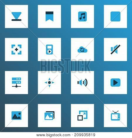 Media Colorful Icons Set. Collection Of Bottom, Gallery, Cloud And Other Elements