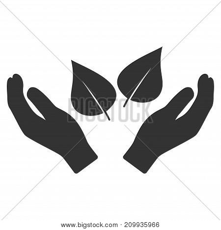 Flora Care Hands vector pictograph. Style is flat graphic gray symbol.