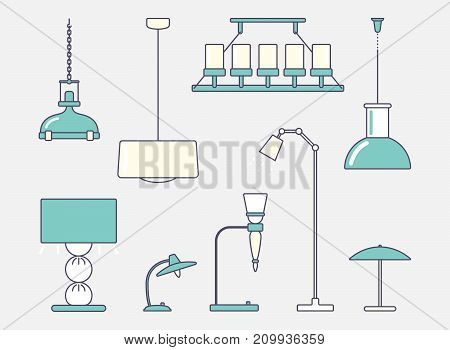 Ceiling light, floor and table lamp. Big set. Flat stroke design Vector illustration
