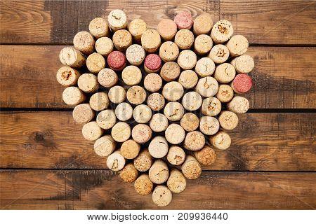 Shape heart wine corks heart shape wine corks white background