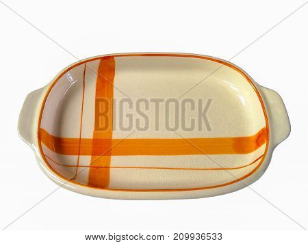 color ceramic plates isolated on white background