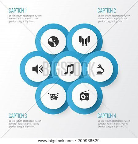 Audio Icons Set. Collection Of Cd, Phonograph, Sound And Other Elements