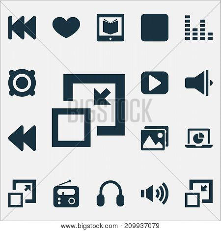 Multimedia Icons Set. Collection Of Play, Amplifier, Gallery And Other Elements