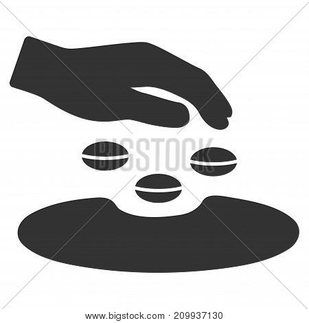Sow Seeds vector pictogram. Style is flat graphic grey symbol.