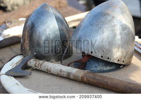 Two Knight's Helmet And Ax Close-up