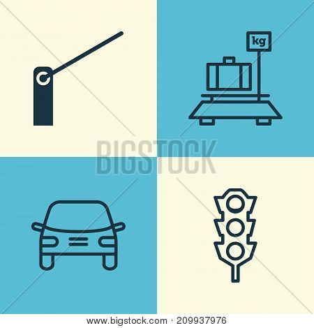 Transportation Icons Set. Collection Of Baggage, Stoplight, Roadblock And Other Elements