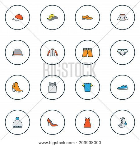 Clothes Colorful Outline Icons Set. Collection Of Cap, Panties, Beanie And Other Elements