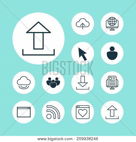 Connection Icons Set. Collection Of Followed, Storage, Down Arrow And Other Elements