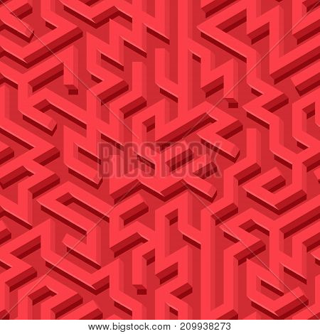 Maze seamless pattern with red endless tiled labyrinth for fabric or wallpaper