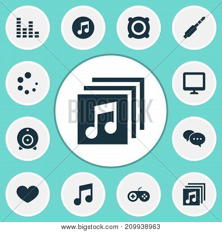 Music Icons Set. Collection Of Audio, Amplifier, Broadcast And Other Elements