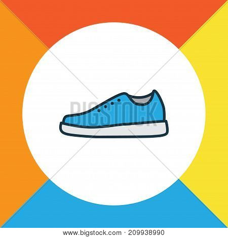 Premium Quality Isolated Sneakers Element In Trendy Style.  Gumshoes Colorful Outline Symbol.