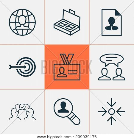 Management Icons Set. Collection Of Global Work, Dialogue, Cooperation And Other Elements