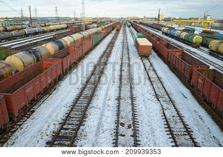 Railway junction of the city.At the Railway station there is a large number of freight trains.