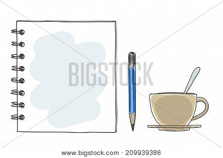 notebook note paper coffee cup and pencil hand drawn vector art illustration