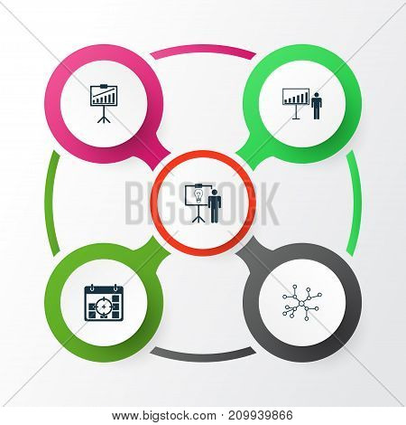 Administration Icons Set. Collection Of Solution Demonstration, Report Demonstration, Project Presentation And Other Elements