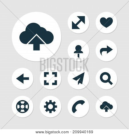 Interface Icons Set. Collection Of Backward, Screenshot, Options And Other Elements