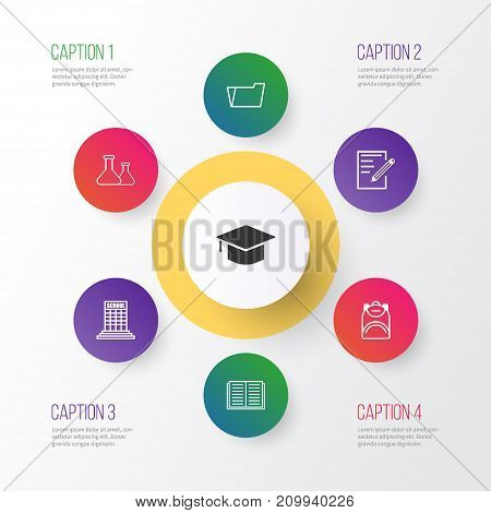 Education Icons Set. Collection Of Haversack, Document Case, Graduation And Other Elements