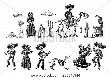 The skeletons in Mexican national costumes dance, praying, galloping on horse, play the guitar, violin, trumpet. Vintage vector black engraving illustration isolated white fond for Dia de los Muertos