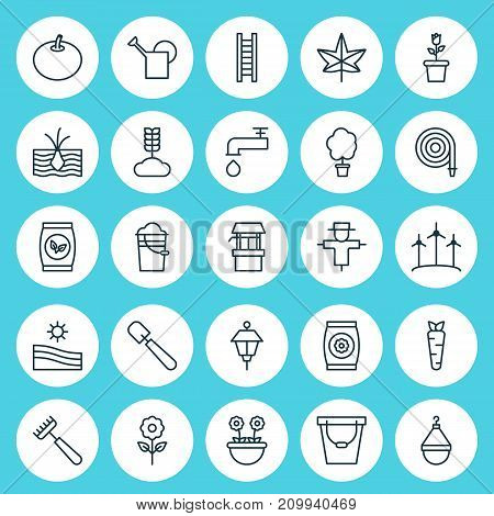 Garden Icons Set. Collection Of Floret, Herb, Lantern And Other Elements