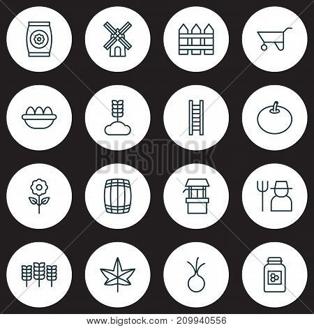 Gardening Icons Set. Collection Of Wheelbarrow, Ovum, Barrier And Other Elements
